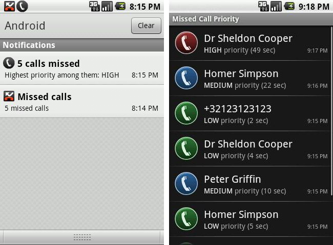 Missed Call Priority Android App