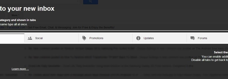 New Gmail Tabs Screen