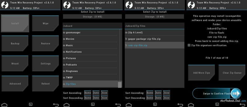 Flash ROM .zip file using TWRP recovery