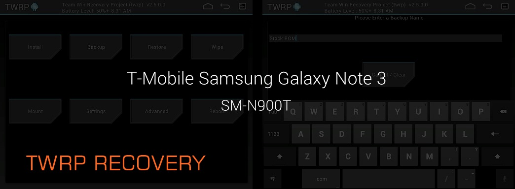 TWRP Recovery T-Mobile Galaxy Note 3 SM-N900T