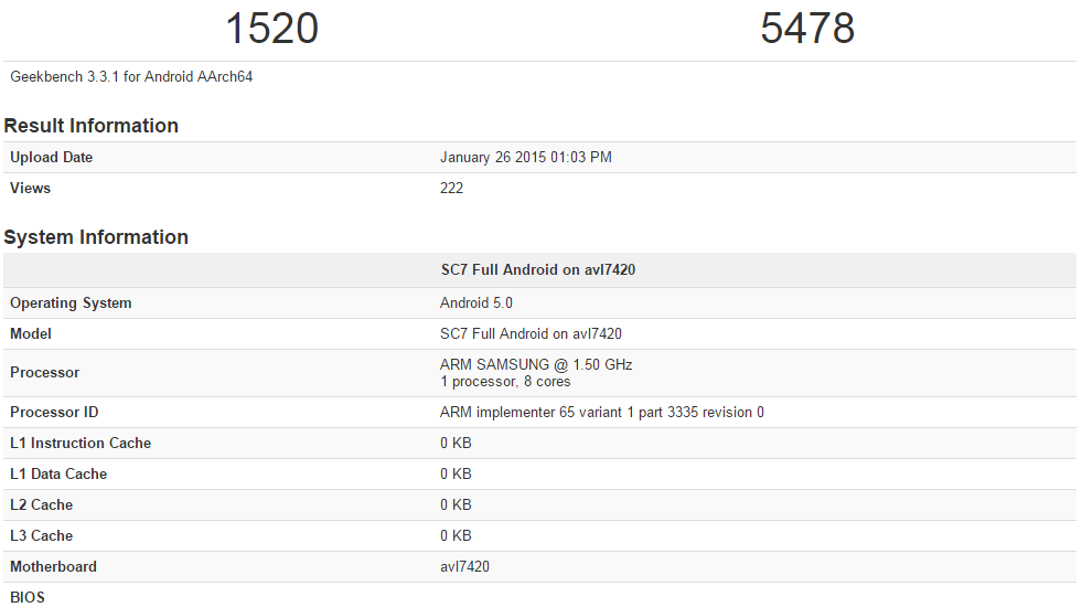 Exynos 7420 processor benchmark