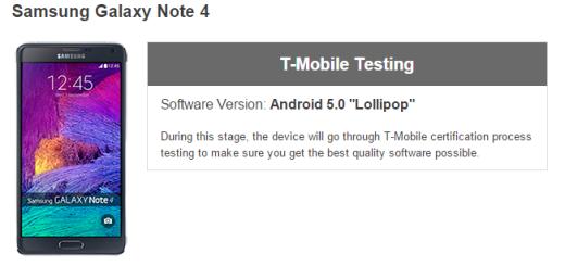 T-Mobile Galaxy Note 4 Lollipop update