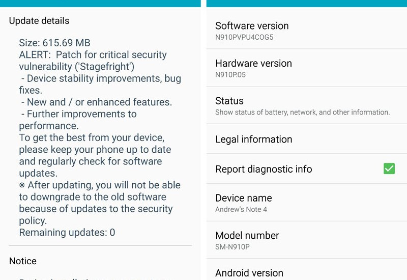 Sprint Galaxy Note 4 Android 5.1.1 Update