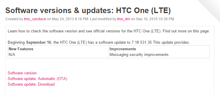 T-Mobile HTC One M7 LTE update