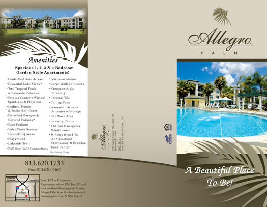 Apartment Tri Fold Brochure Samples Brochures  Allegro Palm   Outside