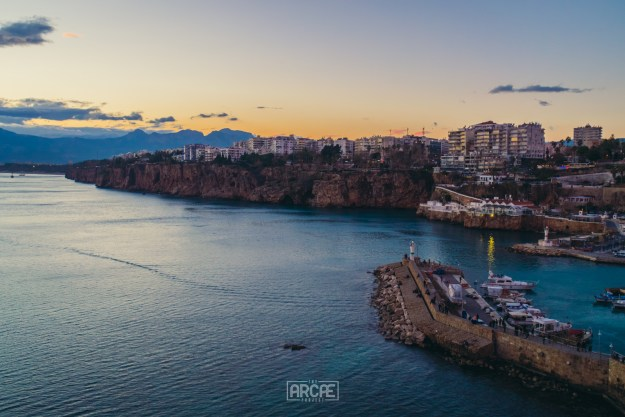 Sunset view from the top of the Marina and Antalya's cliffs.
