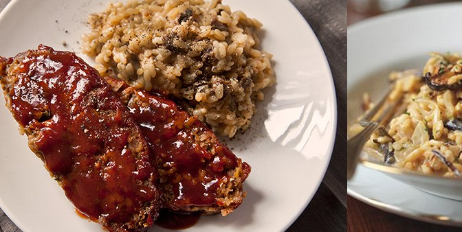 Healthy Homestyle Meatloaf w/ Ancho Chile-Red Pepper Glaze :: Wild Mushroom Risotto