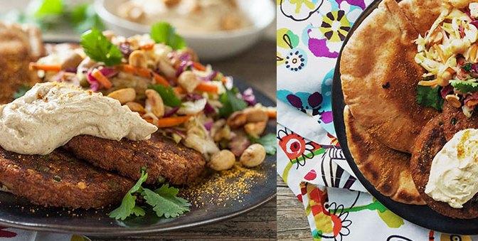 Indian Burgers with Curry Cilantro Slaw & Peanut Satay Yogurt Sauce
