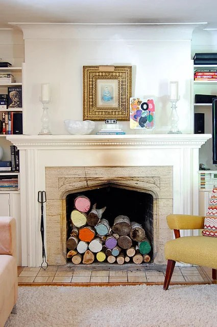 Painted Logs In Fireplace