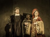 """Ben Miles as Thomas Cromwell and Lydia Leonard as Anne Boleyn in a scene from the RSC's """"Wolf Hall"""" (Photo credit: Johan Persson)"""