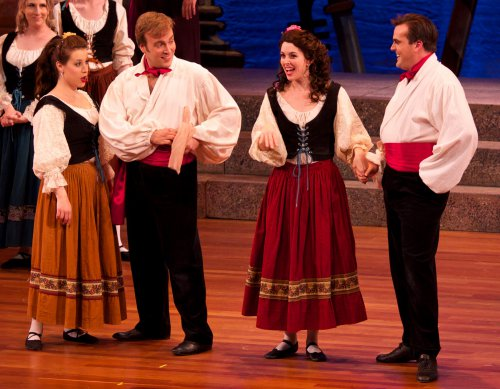 """Amy Maude Helfer, Matthew Wages, Sarah Caldwell Smith and Daniel Greenwood in a scene from NYGASP's """"The Gondoliers"""" (Photo credit: William Reynolds)"""