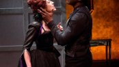 """Kelley Curran as Hippolita and Clifton Duncan as Soranzo in a scene from the Red Bull Theater's revival of """"Tis Pity She's a Whore"""" (Photo credit: Richard Termine)"""