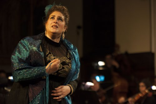 "Regina Grimalda as Floria Tosca in a scene from Chelsea Opera's ""Tosca"" (Photo credit: Robert J. Saperstein)"