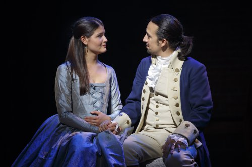 "Phillipa Soo and Lin-Manuel Miranda in a quiet moment from ""Hamilton"" (Photo credit: Joan Marcus)"