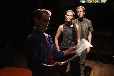 """Jason Collins, Larisa Oleynik and Olli Haaskivi in a scene from """"Who's Your Baghdaddy? Or How I Started the Iraq War"""" (Photo credit: Jeremy Daniels)"""
