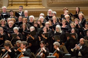 The Cecilia Chorus of New York and orchestra