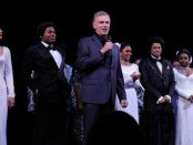 """John Breglio on mike after the opening night of his revival of """"Dreamgirls"""""""