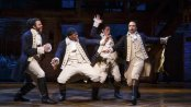 "David Diggs, Okieriete Onaodowan, Anthony Ramos and Lin-Manuel Miranda in a scene from the Tony Award-winning Best Musical ""Hamilton"" (Photo credit: Joan Marcus)"