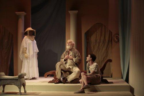 "Evangeline Johns, George Bartenieff and P.J. Brennan in a scene from Karen Malpede's ""The Beekeeper's Daughter"" (Photo credit: Beatrice Schiller)"