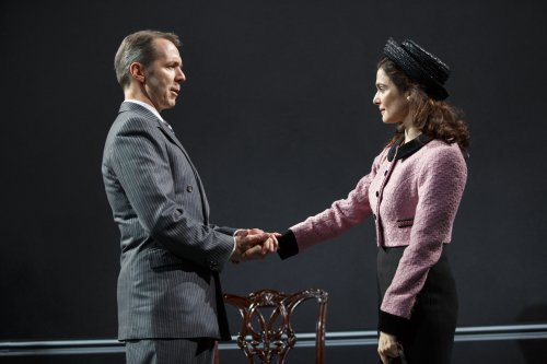 "Paul Niebanck and Rachel Weisz in a scene from The Public Theater's revival David Hare's ""Plenty"" (Photo credit: Joan Marcus)"