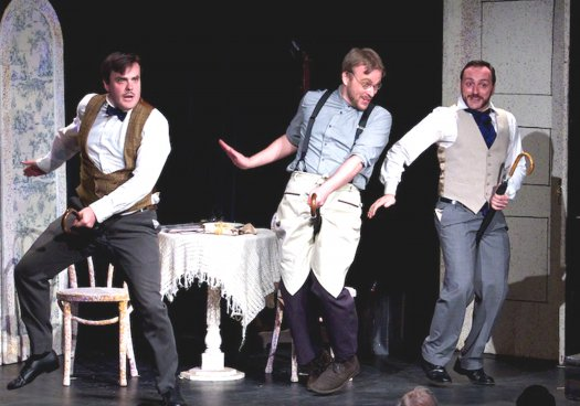 "Daniel Greenwood, Matthew Wages and David Macaluso in a scene from ""Cox and Box"" (Photo credit: William Reynolds)"