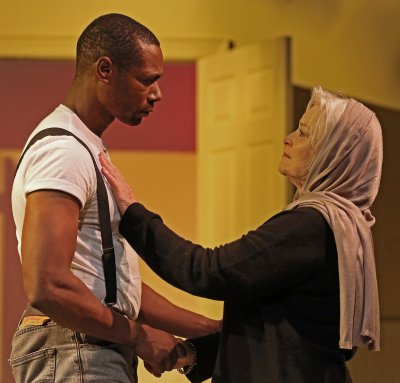 """Dion Johnstone and Lisa Harrow in a scene from Red Bull Theater's revival of """"Corilanus"""""""