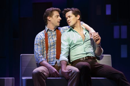 "Christian Borle and Andrew Rannells in a scene from ""Falsettos"" (Photo credit: Joan Marcus)"
