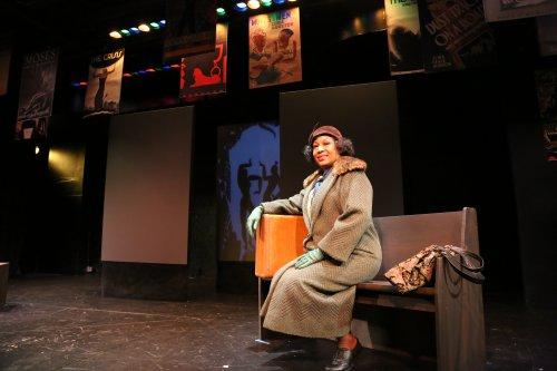 "Elizabeth Van Dyke in a scene from ""Zora Neale Huston: at Theatrical Biography"""