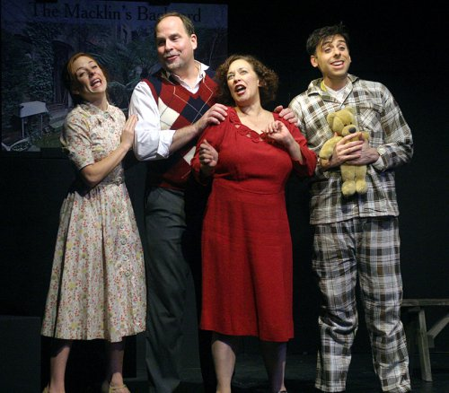 "Kaitlyn Frotton, Tom Gamblin, Deb Cardona and Josh Bardier in a scene from ""Hoi Polloi"" (Photo credit: Michael Portantiere)"