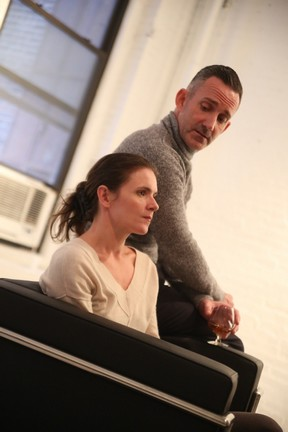 """Katarina Vizina and Philip O'Gorman in a scene from """"Old Times"""" (Photo credit: Gerry Goodstein)"""