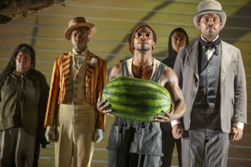 "Patrena Murray, Jamar Williams, Daniel J. Watts, Reynaldo Piniella and David Ryan Smith in a scene from ""The Death of the Last Black Man in the Whole Entire World AKA The Negro Book of the Dead"" (Photo credit: Joan Marcus)"