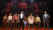 "Bobby Conte Thornton (front, center) and Nick Cordero (front, left) and cast of ""A Bronx Tale"" (Photo credit: Joan Marcus)"