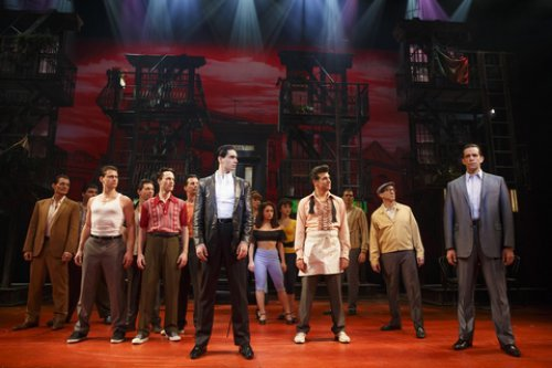 """Bobby Conte Thornton (front, center) and Nick Cordero (front, left) and cast of """"A Bronx Tale"""" (Photo credit: Joan Marcus)"""