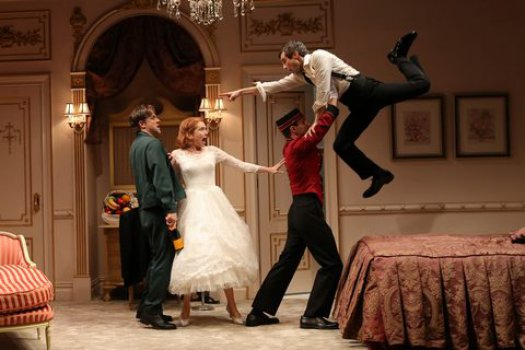 """Joe Tippett, Holley Fain, Andrew Burnap and Michael Crane in a scene from """"This Day Forward"""" (Photo credit: Carol Rosegg)"""