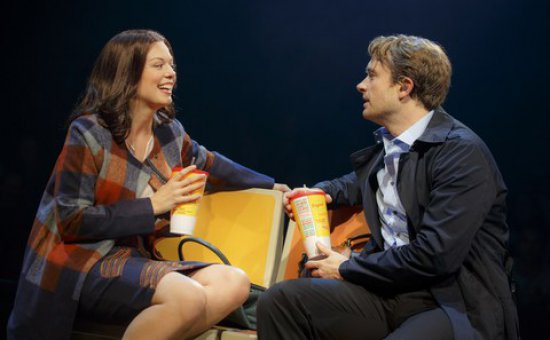 """Margo Seibert and James Snyder in a scene from of """"In Transit"""" (Photo credit: Joan Marcus)"""