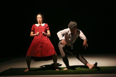 """Yi-Wei Tien and Chen-Chih Liao in a scene from """"Tschűss!! Bunny""""(Photo credit: Julie Lemberger)"""