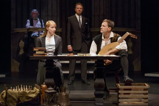 "John Michalski, Kersti Bryan, Paul Schoeffler and Fletcher McTaggart in a scene from ""Martin Luther on Trial"" (Photo credit: Joan Marcus)"