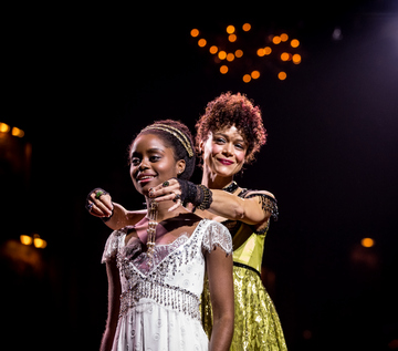 "Denée Benton and Amber Gray in a scene from ""Natasha, Pierre & The Great Comet of 1812"" (Photo credit: Chad Batka)"