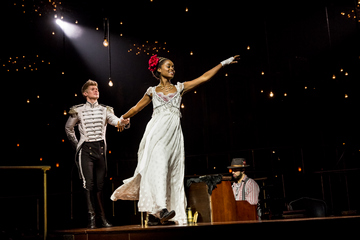 "Lucas Steele and Denée Benton in a scene from ""Natasha, Pierre & The Great Comet of 1812"" (Photo credit: Chad Batka)"