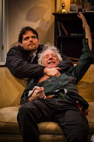 "Eric Joshua Davis and Austin Pendleton in ""Consider the Lilies"" (Photo credit: Talya Chalef)"