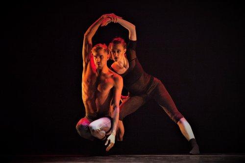 "Andrew Brader and Jillian Davis in a scene from Dwight Rhoden's ""Glitter Glitter"" (Photo credit: Moira Geist)"