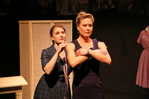 """Tracy Sallows and Caralyn Kozlowski in a scene from """"The Dressmaker's Secret"""" (Photo credit: Carol Rosegg)"""
