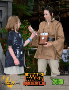 Gaining her diploma for finishing Padawan Training at Star Wars Weekends 2015