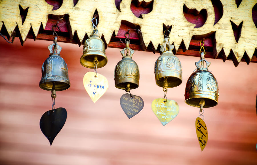 Bells line the rooftop edges of the temple, representing offerings to Buddha given by devotees.