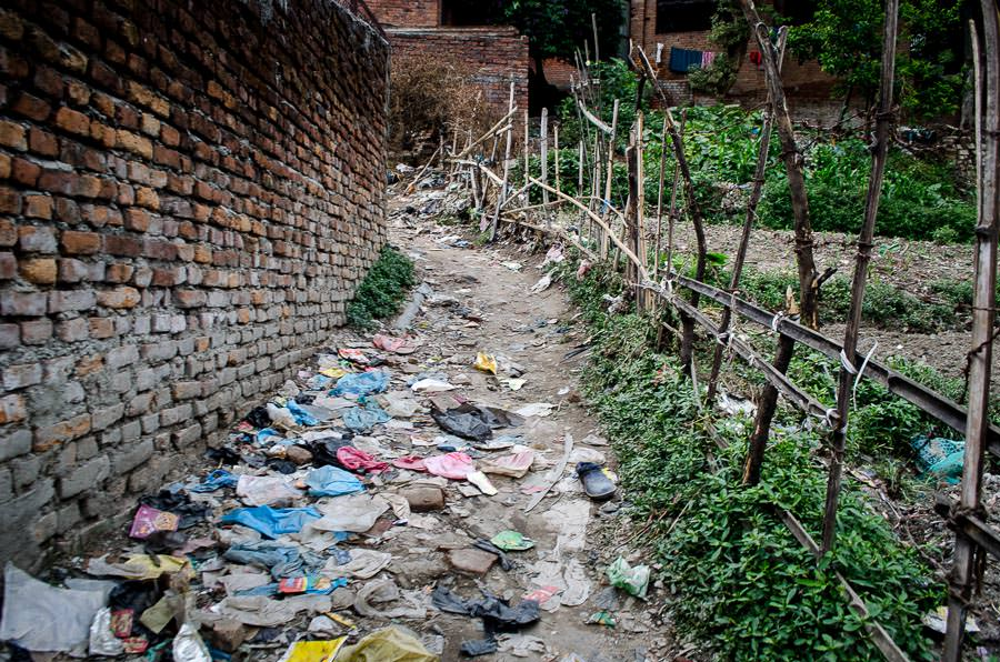 The pathway leading back up to the main street from tent city in Kathmandu, Nepal