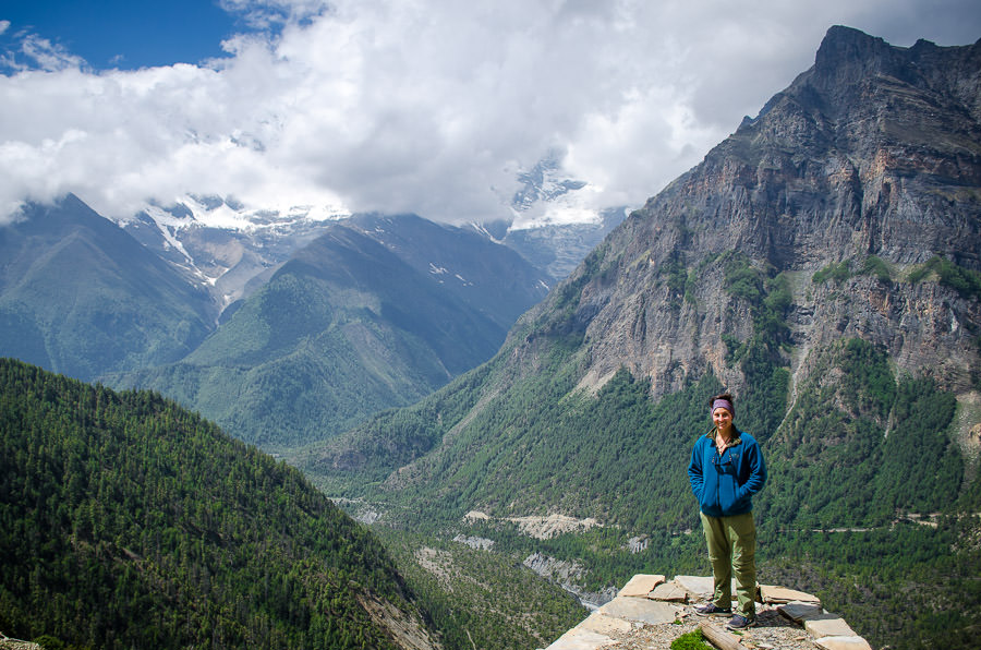 Ashlie standing at the lookout over the valley from Ghyaru, Nepal.