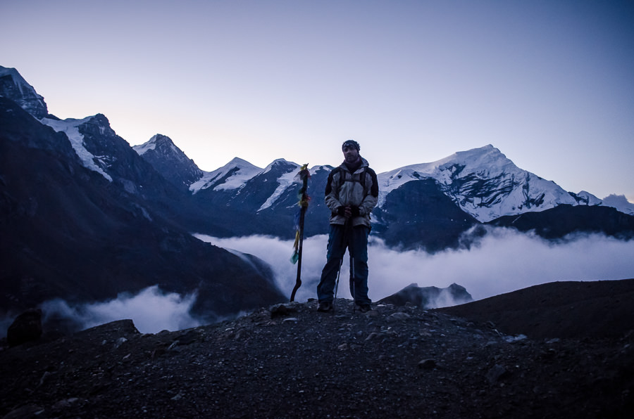 Adrian in the early morning dawn on our way to cross Thorong-La Pass