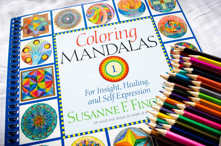 Coloring Mandalas coloring book and pencils