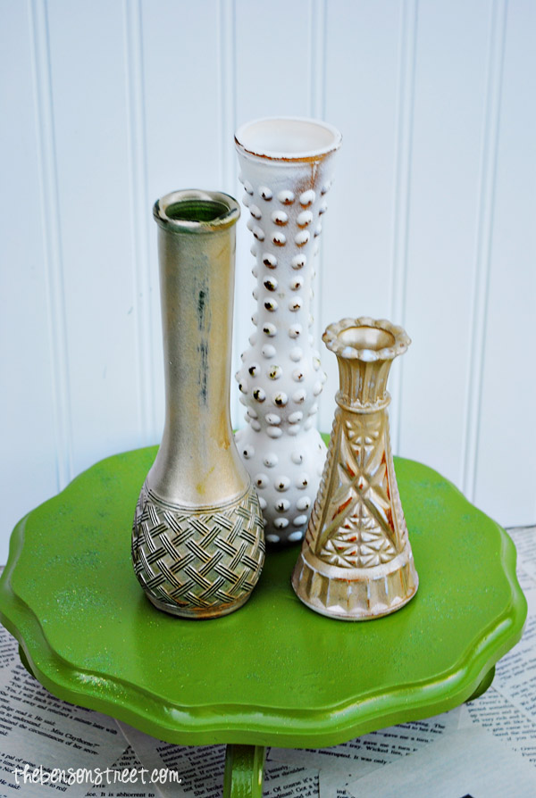 Gold Painted Bud Vases at thebensonstreet.com