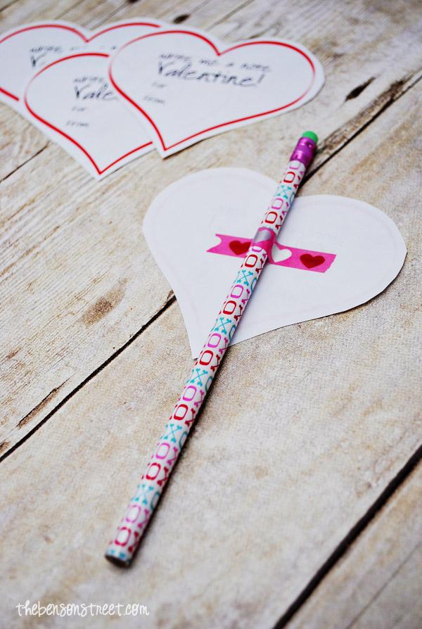 Easy Pencil Valentine Idea at thebensonstreet.com